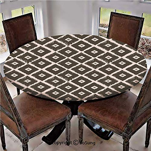 (Elastic Edged Polyester Fitted Table Cover,Tribal Square Diamond Shaped Abstract Aztec Folk Historical Culture Decorative,Fits up to 36
