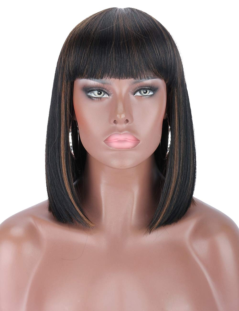 Kalyss Women's Short Bob Wigs with Hair Bangs Black Wigs with Highlights Heat Resistant Yaki Synthetic Straight Full Head Hair Wig for Women, Natural Looking for Daily Wear
