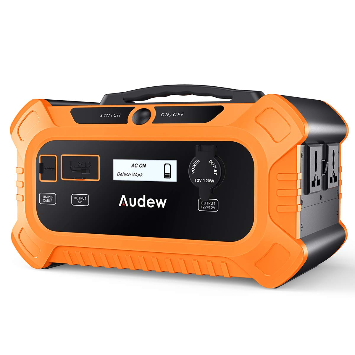 Audew Portable Power Station with LiFePO Battery,500Wh Solar Generator with Car Jump Start Port,Power Supply with 110V 200W Max 250W AC Outlet for Outdoors Camping Emergency 500Wh