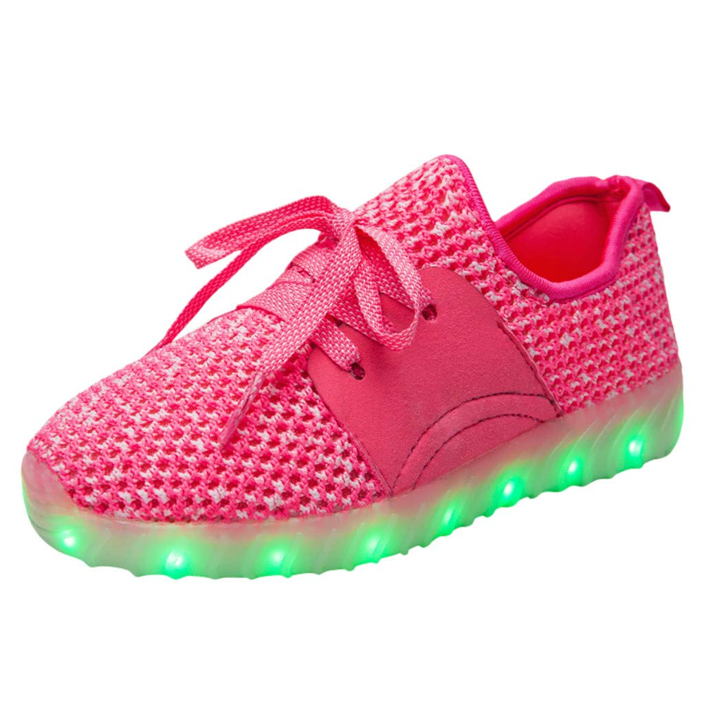 3-10T Kids Boys Girls Breathable LED Light Up Flashing Sneakers for Children Lace-up Knit Walking Sports Shoes as Gift (6.5-7Years, Pink) by Aritone