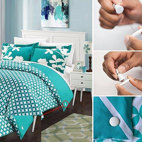 PinionPins Keyless Set of 8 Duvet Fasteners - Comforter Grips/Duvet Cover Clips/Magnetic Duvet Clip/Duvet Donuts (8 Pairs, White Cloth)