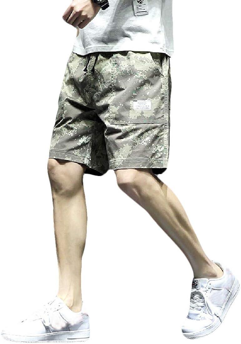 Abetteric Men Half Pants Cotton Multi Pockets Multicam Tactical Combat Pants