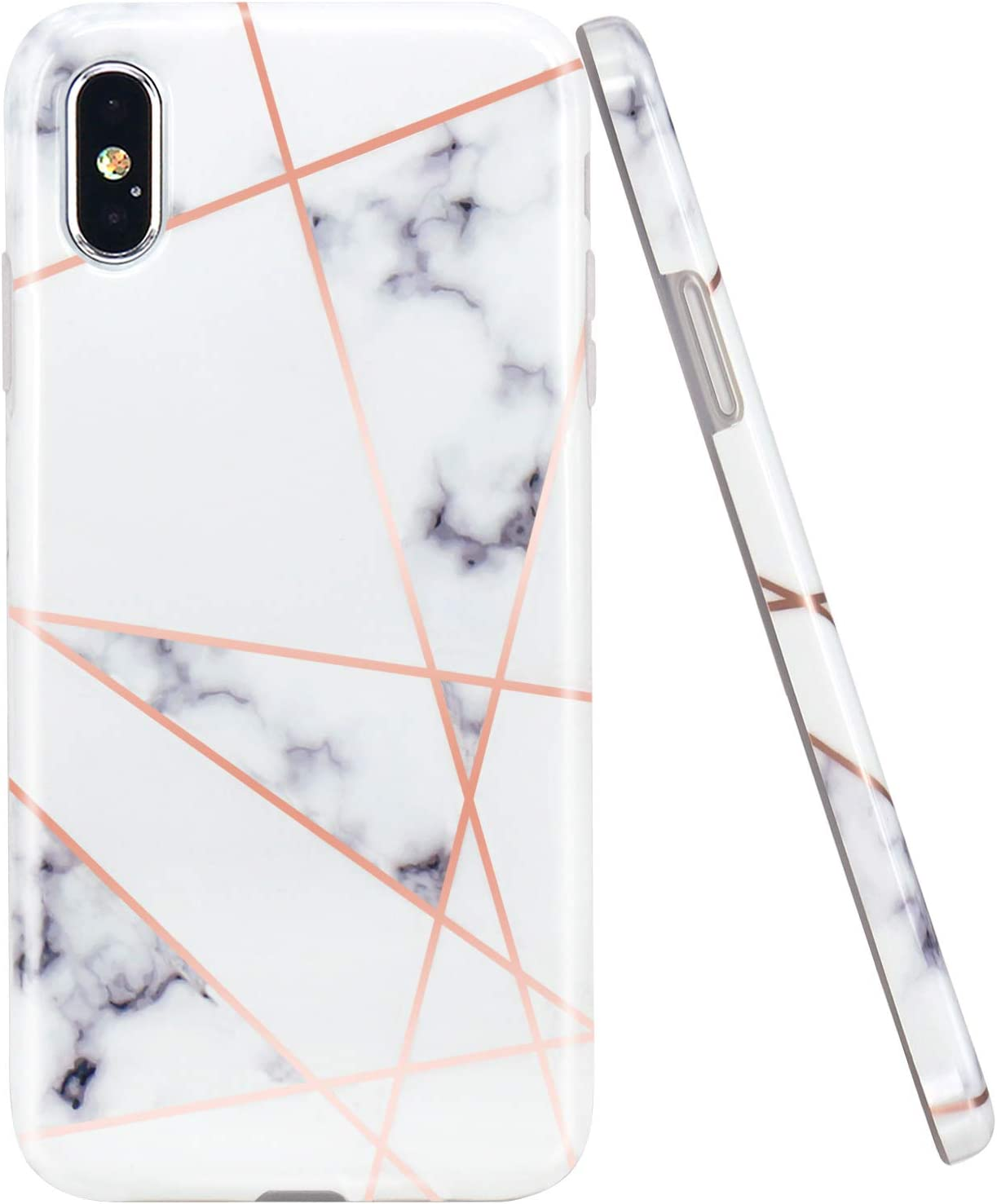 Funda de silicona iPhone X / Xs Oro rosa Diseño geométrico