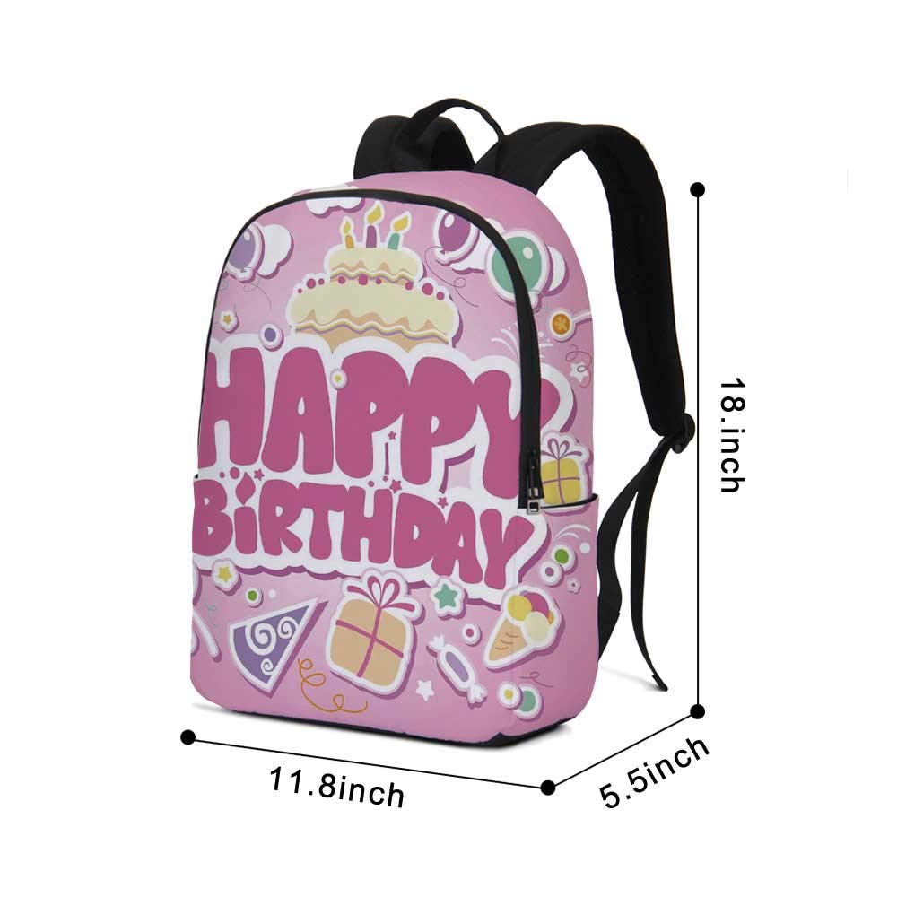 Birthday Decorations for Kids Modern simple Backpack,Cartoon Seem Party Image Balloons Boxes Clouds Cake Image for school,11.8''L x 5.5''W x 18.1''H by TecBillion (Image #2)