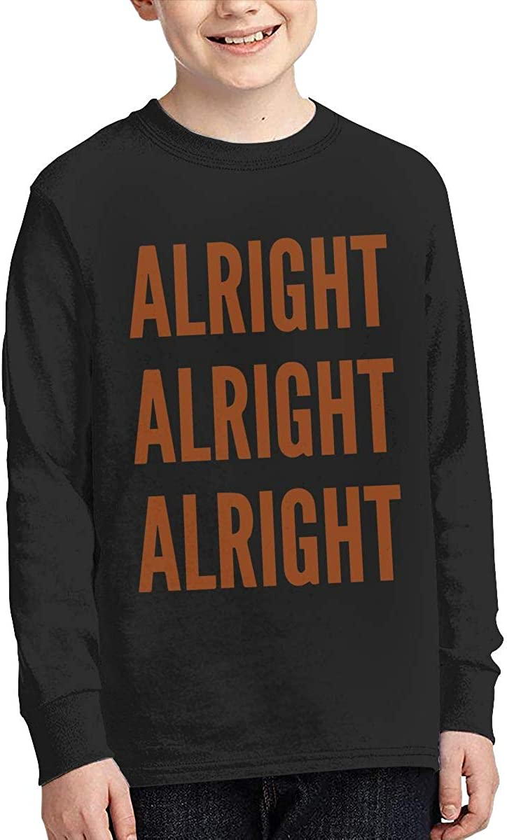Teenagers Teen Girls Alright Alright Alright Printed Long Sleeve 100/% Cotton Tee Shirt