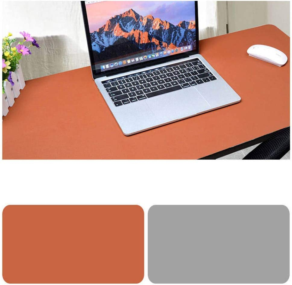 OUYAWEI Double Sided Desk Mousepad Extended Waterproof Microfiber Gaming Keyboard Mouse Pad for Office Home School Brown Light Gray Size 120x60