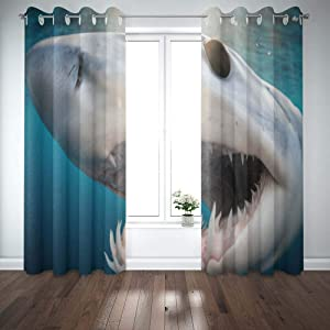 Shorping Window Curtains, Window Panels Sliding Blackout Curtains Shark Diving in The Sea of with Coast Cabo San Mexico a Mako Lucas Country Shower Curtain for Bedroom 52X63 Inches,2 Pc