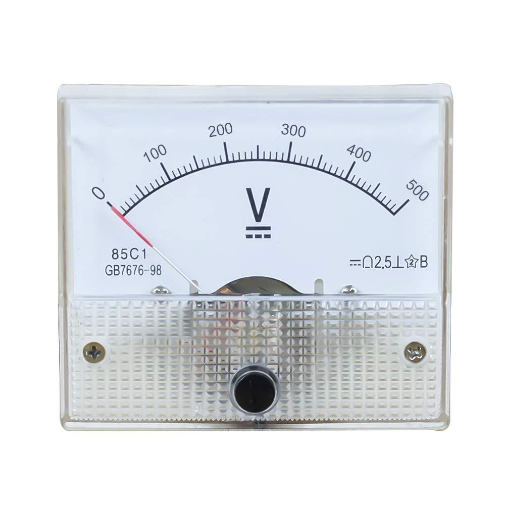 Loweryeah 85C1 DC Plastic Analog Pointer Volmeter Voltage Meter Panel 500V Mechanical Gauge 1Pcs 6456mm