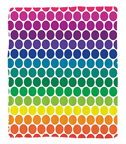 Chaoran 1 Fleece Blanket on Amazon Super Silky Soft All Season Super Plush Illustration of Bright Rainbow Colored Dots Big Circlespots Play Kids Theme Fabric et by chaoran