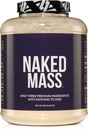 Naked Mass – Natural Weight Gainer Protein Powder – 8lb Bulk, GMO Free, Gluten Free Soy Free. No Artificial Ingredients – 1,250 Calories – 11 Servings