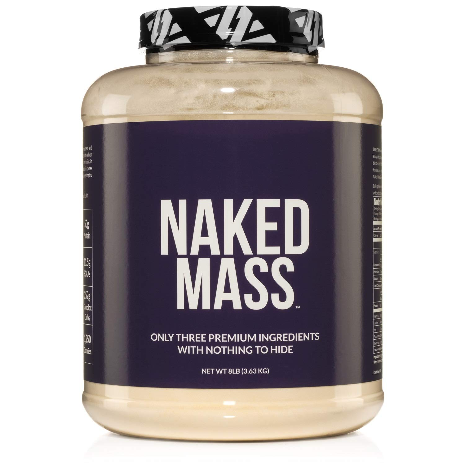 NAKED MASS - Natural Weight Gainer Protein Powder - 8lb Bulk, GMO Free, Gluten Free & Soy Free. No Artificial Ingredients - 1,250 Calories - 11 Servings by NAKED nutrition