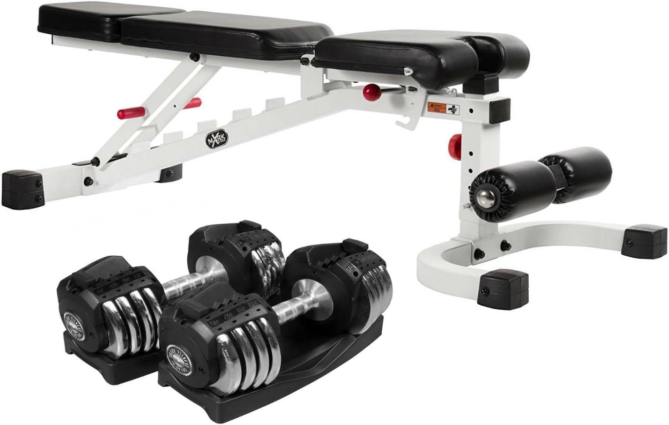 XMark Fitness Combo ofrecen FID Banco Prensa (inclinación/Descenso)/Banco de Peso Ajustable con Select Tech Pesos/Ajustable Mancuernas par con Bandeja de Almacenamiento, XMCombo87: Amazon.es: Deportes y aire libre