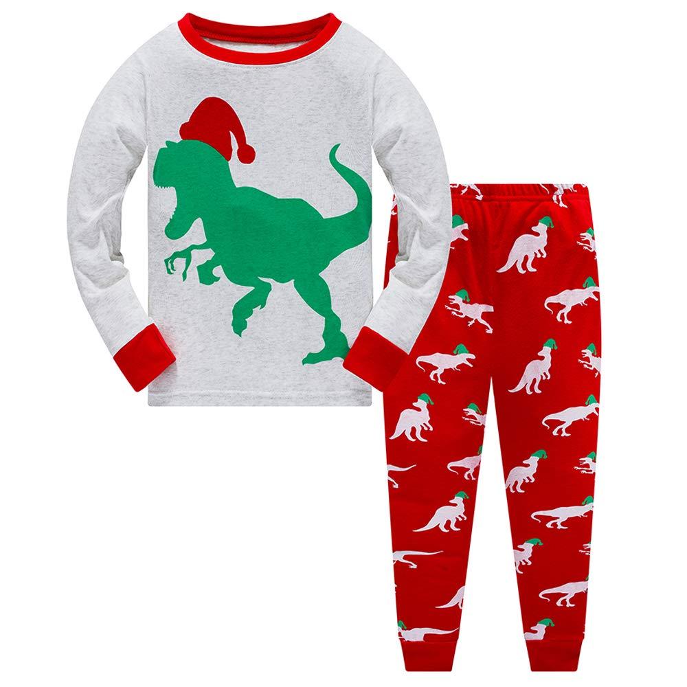 Boys Christmas Pyjamas Set Kids Pjs Dinosaur Toddler Clothes 100/% Cotton Girls Pajamas Long Sleeve Nightwear Sleepwear Outfit 1 to 10 Years