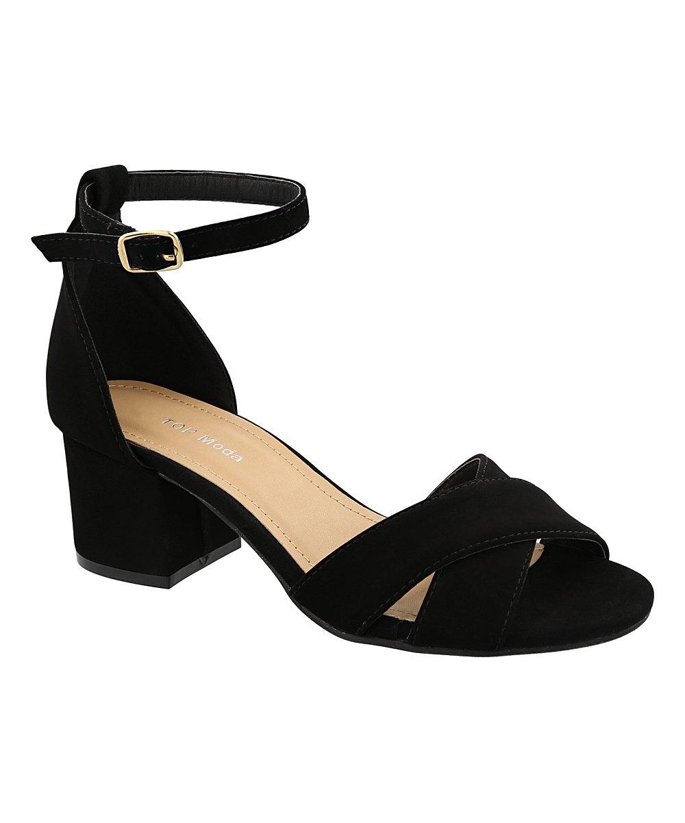 Top Moda DARCIE-78 Women's Fashion Ankle Strap Chunky Low Heel Dress Sandal Shoes (7, Black)