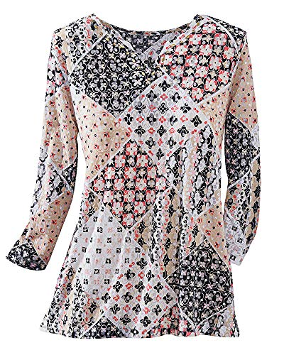 Alfred Dunner 3/4 Sleeve Knit Top, Patchwork, Petite XL