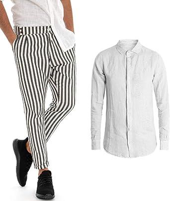 Giosal Outfit - Conjunto de Camisa de Lino para Hombre, Color Blanco, Cuello Liso, Pantalones a Rayas Negros, Rayas Casuales Bianco S: Amazon.es: Ropa y accesorios