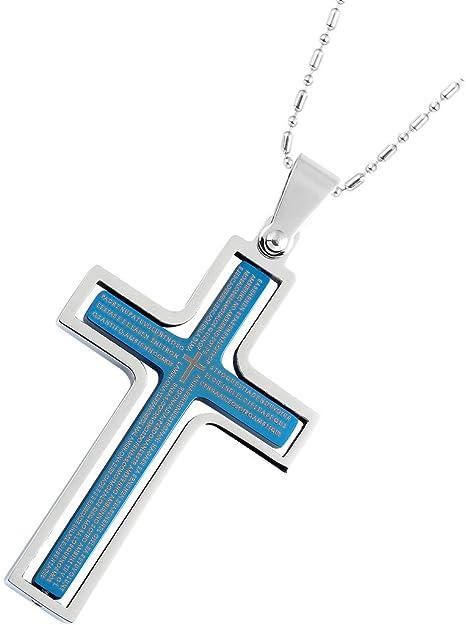 Epinki Hombres Acero Inoxidable Joyería Colgante Collar Azul Capa Cruz Dios Orante, 2.5x4.1CM: Epinki: Amazon.es: Joyería