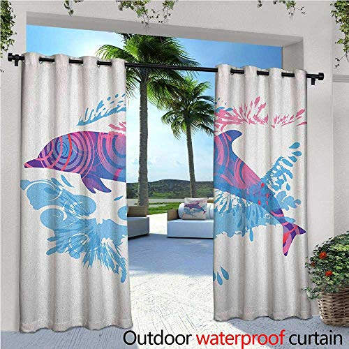 Dolphin Bamboo Patterns - familytaste Sea Animals Exterior/Outside Curtains Dolphin Figure with Colorful Patterns Underwater Sea Life Illustration for Patio Light Block Heat Out Water Proof Drape W108 x L96 Blue Purple Pink