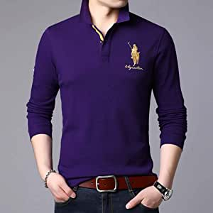 Men's Daily Work Weekend Activities Polo Shirt - Solid Color Basic Shirt Collar Black/Long Sleeve/Autumn and Winter,Purple,M