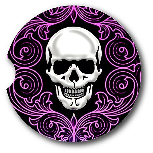 (Skull/Purple Flourishes Sandstone Car Coasters - Set of 2)