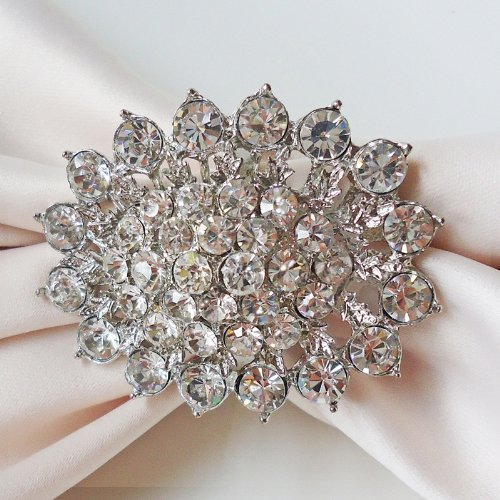 Sparkly Winston Crystal Cluster Napkin Ring Set of 2 by Wildflower Linen - So pretty and sparkly for a formal holiday table setting!