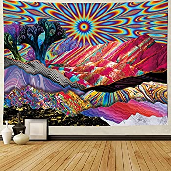 Heopapin Psychedelic Tapestry Trippy Mountain Sun Tapestry Abstract Trees Tapestry Colorful Nature Landscape Tapestries Bohemian Hippie Tapestry Wall Hanging for Room