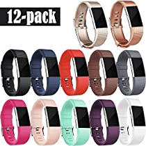 For Fitbit Charge 2 Bands, Vancle Replacement Wristbands Soft Comfortable Accessory Strap for Fitbit Charge 2 Band / Fitbit Charge 2 Small Large, No Tracker (3PC(Black+Blue+Plum), Large)