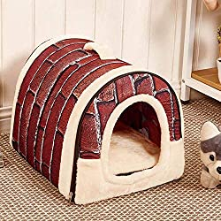 Vovomay Pet Dog Cat Bed House Warm Soft Mat Bedding Igloo Basket Kennel Washable Snug (m)