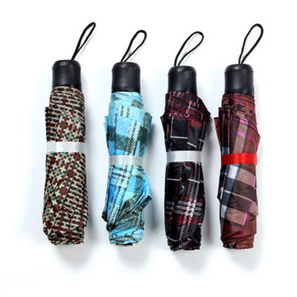 Wudi 1PC Short poigné e Parapluie Mini Portable Parapluie Pliant Grille de Couleur alé atoire