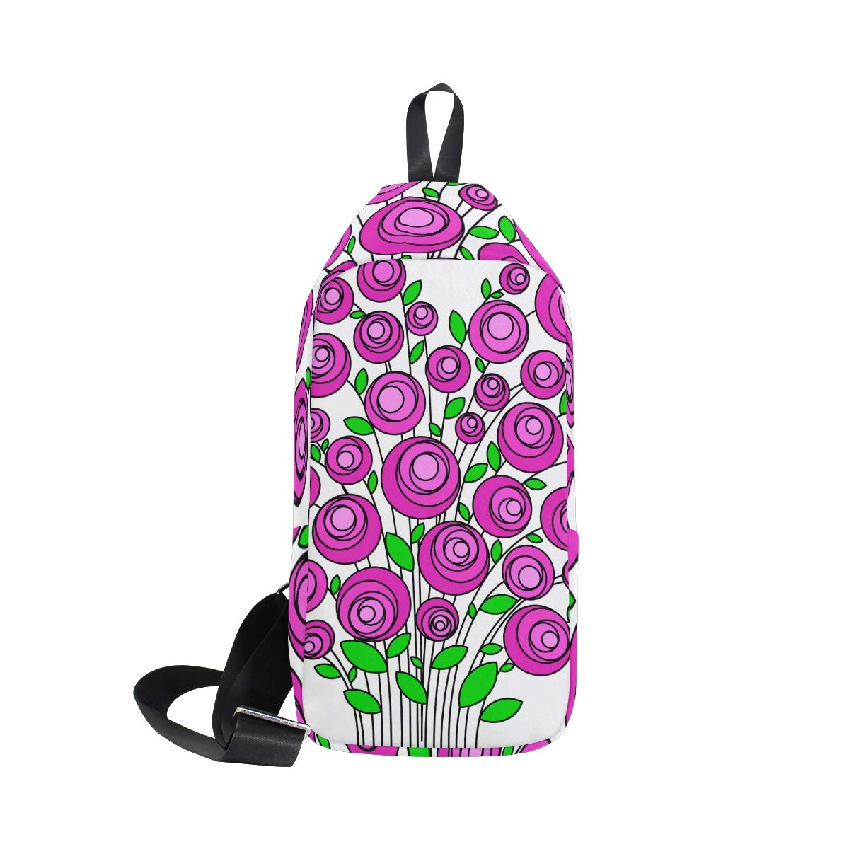 Unisex Messenger Bag Bouquet Of Flowers Shoulder Chest Cross Body Backpack Bag