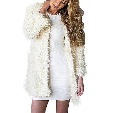 Koly Prendas de Vestir Las Mujeres de otoño Invierno Elegante Cálido Abrigo Largo de Piel Sintética