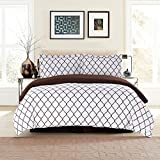 Lux Decor Collection Duvet Cover Set, 1800 Count Soft Egyptian Quality Hotel Luxury Queen Premium Bedding Duvet Cover, 3 Piece Luxury Soft, 2 Pillow Shams (Full/Queen, White/Chocolate)