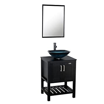 Eclife 24 Modern Bathroom Vessel Sink And Vanity Combo Square