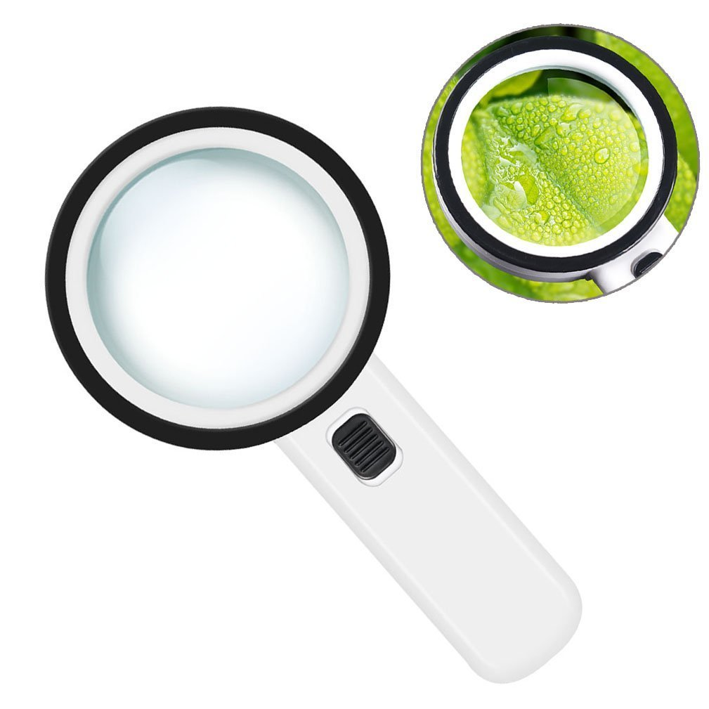 30x Handheld Lighted Magnifier, Extra Large Double Glass Lens Magnifying Glass with 12 LED Lights for Reading, Soldering, Inspection, Exploring, Hobbies,Jewelry and More