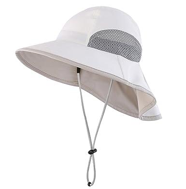 fd30ef33 Magracy Kids Outdoor Wide Brim Sun Hat Summer Bucket Hats with Neck Flap  Adjustable UV Sun Protection Hats Beige: Amazon.co.uk: Clothing