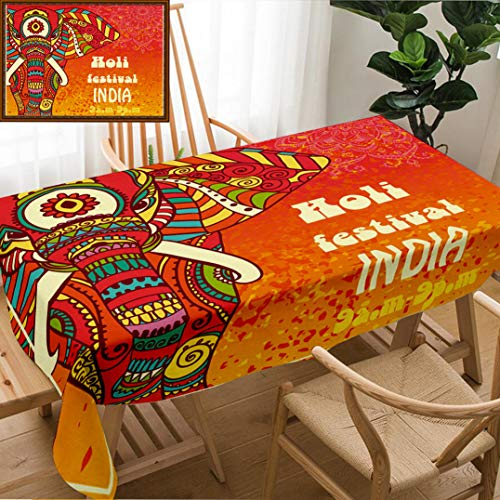 Skocici Unique Custom Design Cotton and Linen Blend Tablecloth Ornametal Happy Holi and Dolyatra Celebration Card with Mandala Invitation Card in PerfectTablecovers for Rectangle Tables, 60