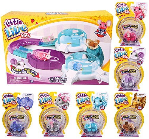 Little Live Pets Mouse Bundle: Includes Mouse House & Trail and 6 Mice: Crumbs, Little Twinkle, Chatter, Smooch, Angelee & Staria