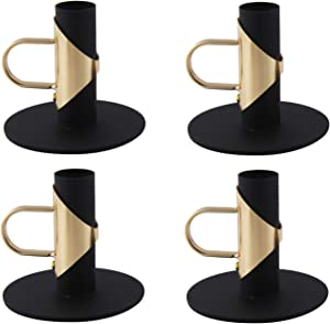 VINCIGANT Black Candle Holders for Taper Candles with Handle, Retro Iron Candlestick Holders for Dhristmas, Home Decor, Holiday Centerpieces,Pack of 4