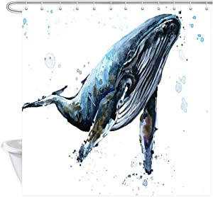 NYMB Ocean Underwater Whale Shower Curtains, Watercolor Sea Animals Humpback Whale Decor, Polyester Fabric Blue Whale Bath Curtains for Bathroom, Shower Curtain Hooks Included, 69X70in