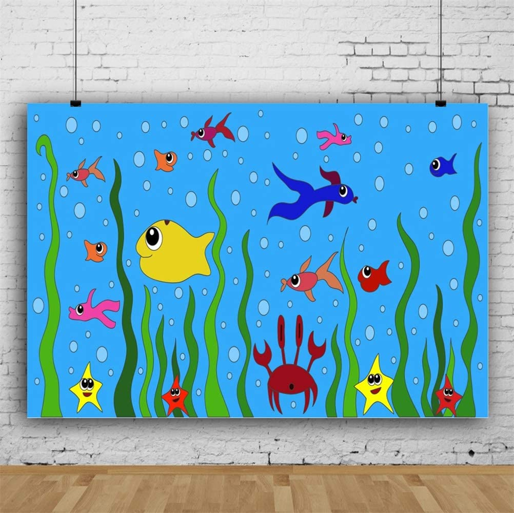 Leowefowa 10x8ft Cartoon Underwater World Backdrop Vinyl Colorful Fishes Sea Grass Starfish Crab Photography Background Aquarium Fish Tank Decor Marine Bday Baby Shower Party Banner Wallpaper
