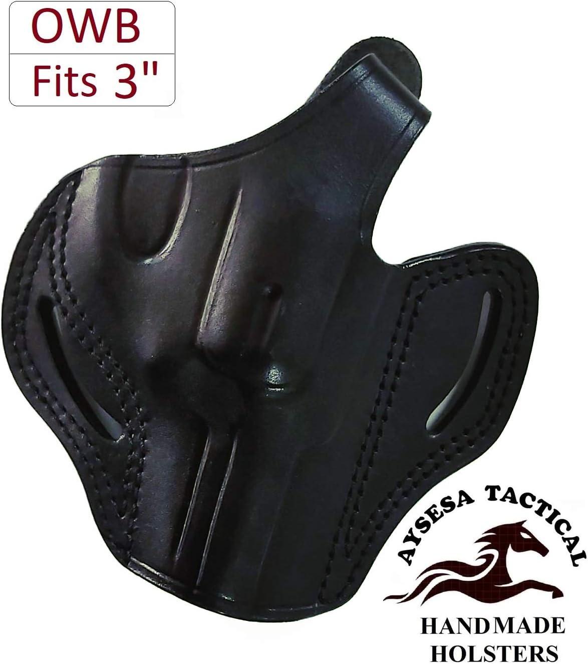 OWB Leather Revolver Gun Holster for Colt King Cobra 357 3 Inch Barrel Taurus 905 Ruger LCRX Rossi r462 Right Handed Concealed Carry Black