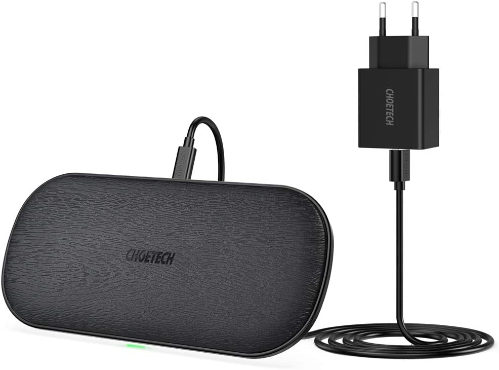 Cargador Inalámbrico Doble,CHOETECH 7.5W/10W Qi Fast Wireless Charger con Cargador 3.0, 5 Bobinas para Airpods 2, iPhone 11/11Pro/SE/XR/XS/X/8,Galaxy Note 10/S20/S10/S9/S8 y 5W Teléfonos Qi-Enabled
