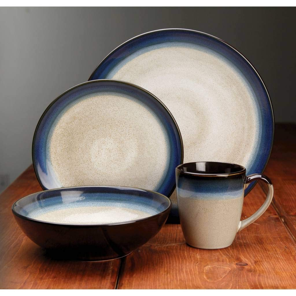 Gibson Elite 91547.16RM Couture Bands 16-Piece Dinnerware Set, Blue and Cream by Gibson (Image #7)