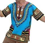 RaanPahMuang Unisex Bright Coloured African Dashiki Cotton Plus Shirt, XXX-Large, Azure Blue