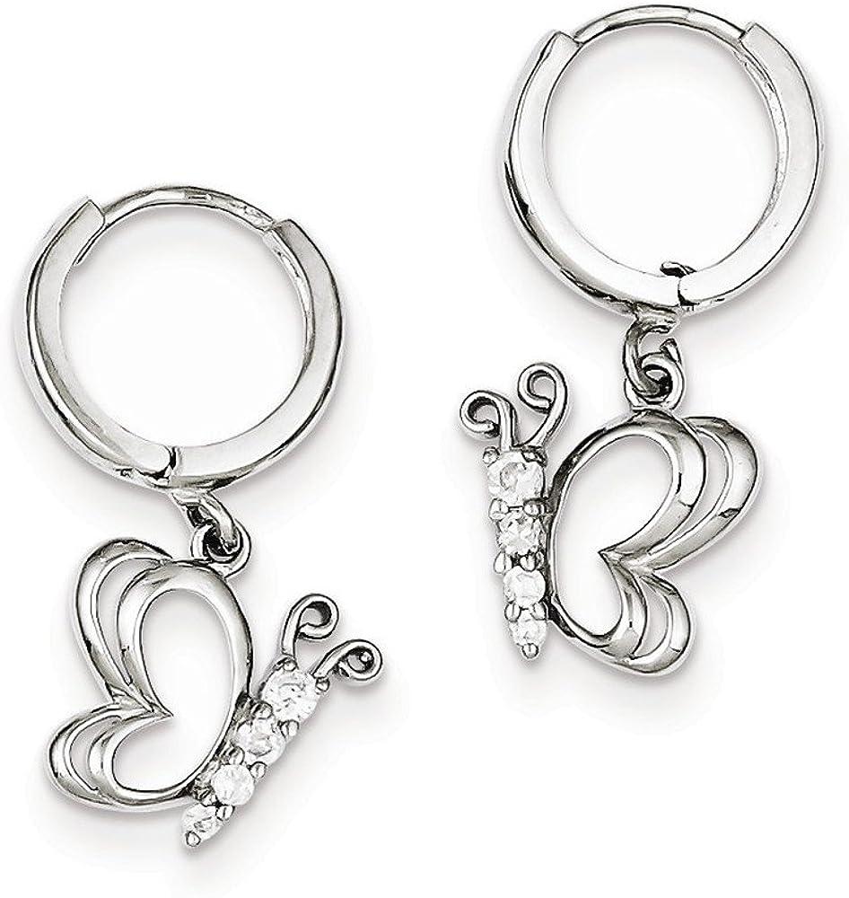 925 Sterling Silver Rhodium-plated w//CZ Butterfly Dangle Earrings