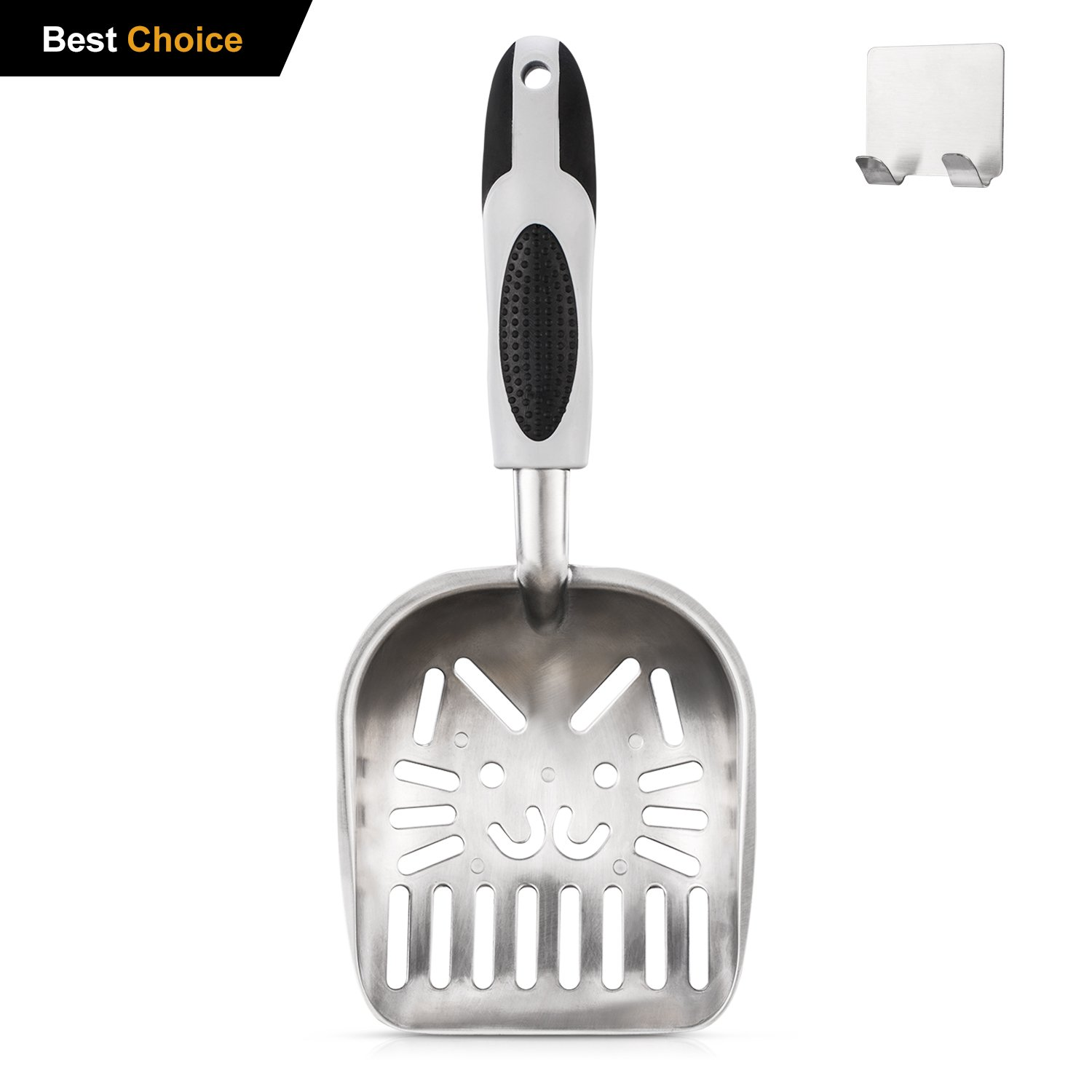Cat Litter Scoop, Cat Face Sifter with Deep Shovel Non-Stick Antimicrobial, Non-Slip Durable Solid Core Handle Metal Litter Scoop with Metal Holder