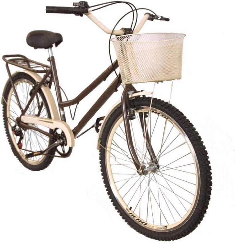 Bicicleta aro 26 retrô new bike 6 marchas café