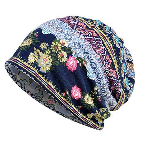 Womens Soft Cotton Boho Ethnic Flower Print Stripe Slouch Beanie Infinity Scarf (Blue)