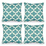Decorative Pillow Cover - Top Finel Durable Cotton Linen Square Decorative Throw Pillows Cushion Covers Pillowcases For Sofa 18 x18 inch Set of 4 -blossom