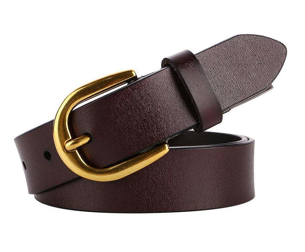 "Cliont Women/'s leather belt genuine leather ladies belt 1.1/""Wide Silver Golden Buckle Brown Black White Coffee belt"